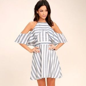 Lulu's The Wind is Right Blue White Striped Dress